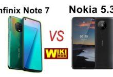 صورة مقارنة بين نوكيا 5.3 و انفنيكس نوت 7
