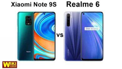 صورة مقارنة بين شاومي نوت 9 اس و ريلمي 6