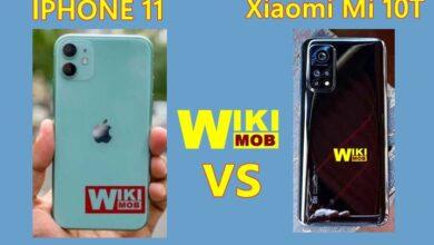 صورة مقارنة بين شاومي مي 10 تي و ايفون 11