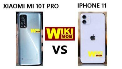 صورة مقارنة بين شاومي مي 10 تي برو وايفون 11