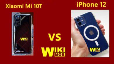 صورة مقارنة بين شاومي مي 10 تي و ايفون 12