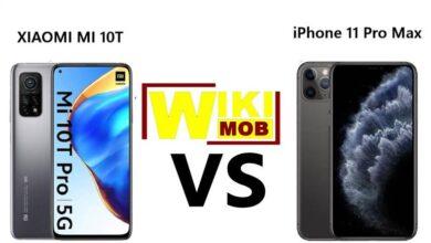 صورة مقارنة بين شاومي مي 10 تي و ايفون 11 برو ماكس