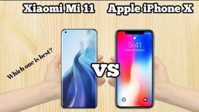 صورة مقارنة بين شاومي مي 11 و ايفون اكس