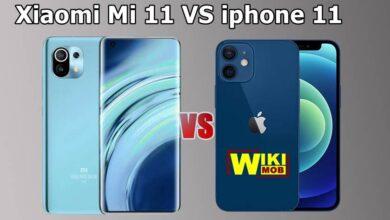 صورة مقارنة بين شاومي مي 11 و ايفون 11