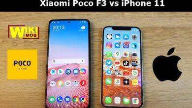 صورة مقارنة بين شاومي بوكو اف 3 و ايفون 11