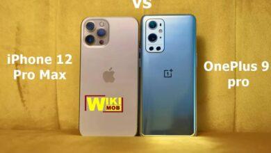 صورة مقارنة بين ون بلس 9 برو و ايفون 12 برو ماكس
