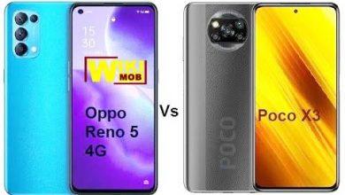 صورة مقارنة بين اوبو رينو 5 و شاومي بوكو اكس 3
