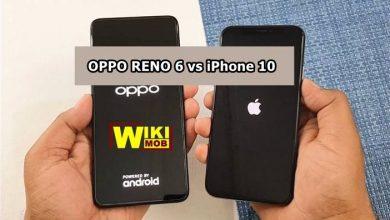 صورة مقارنة بين اوبو رينو 6 و ايفون 10