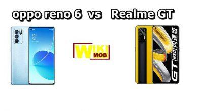 صورة مقارنة بين اوبو رينو 6 و ريلمي جي تي