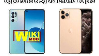 مقارنة بين 0ppo reno 6 5g و iPhone 11 pro