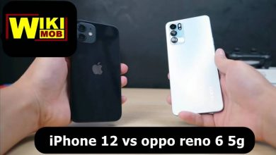 صورة مقارنة بين اوبو رينو 6 فايف جي و ايفون 12