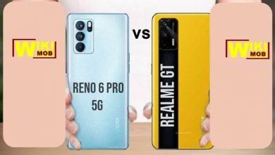 صورة مقارنة بين اوبو رينو 6 فايف جي و ريلمي جي تي