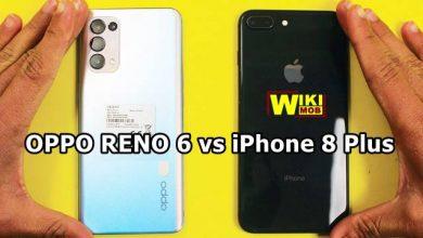 صورة مقارنة بين اوبو رينو 6 و ايفون 8 بلس