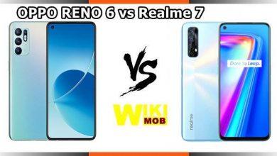 صورة مقارنة بين اوبو رينو 6 و ريلمي 7