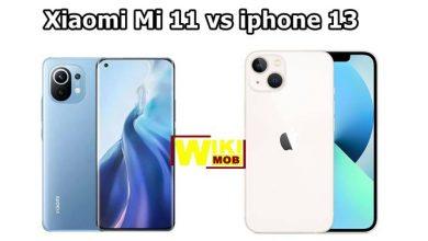 صورة مقارنة بين ايفون 13 وشاومي مي 11