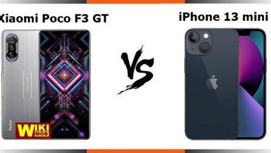 صورة مقارنة بين شاومي بوكو اف 3 جي تي و ايفون 13 ميني