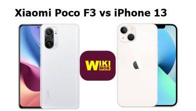 صورة مقارنة بين شاومي بوكو اف 3 و ايفون 13