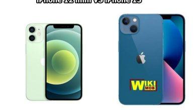 صورة مقارنة بين ايفون 13 وايفون 12 ميني